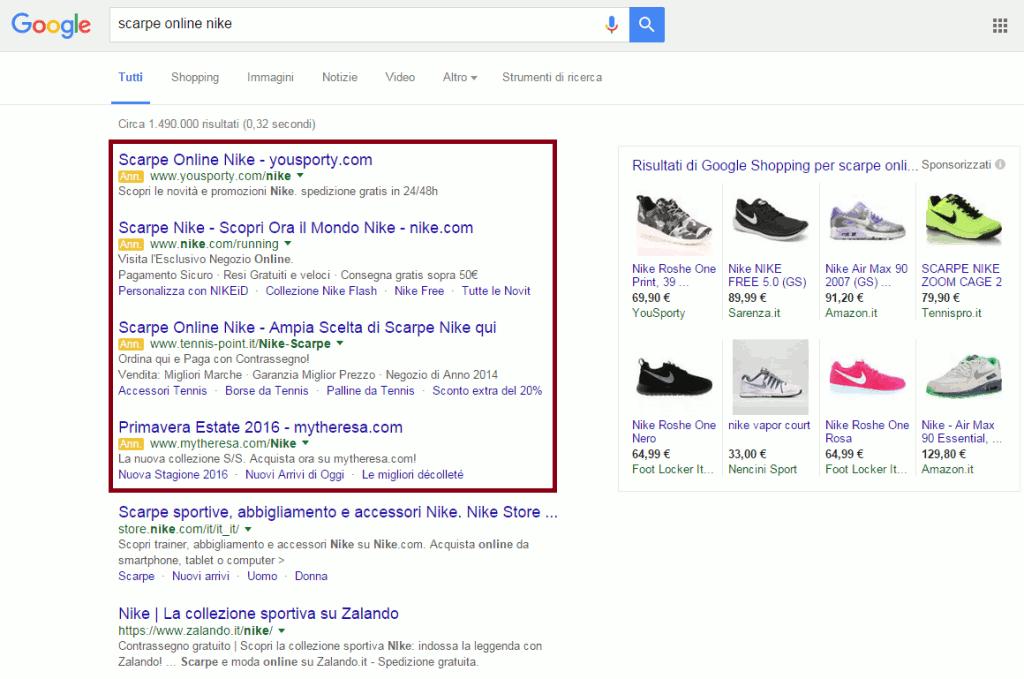 SERP google adwords
